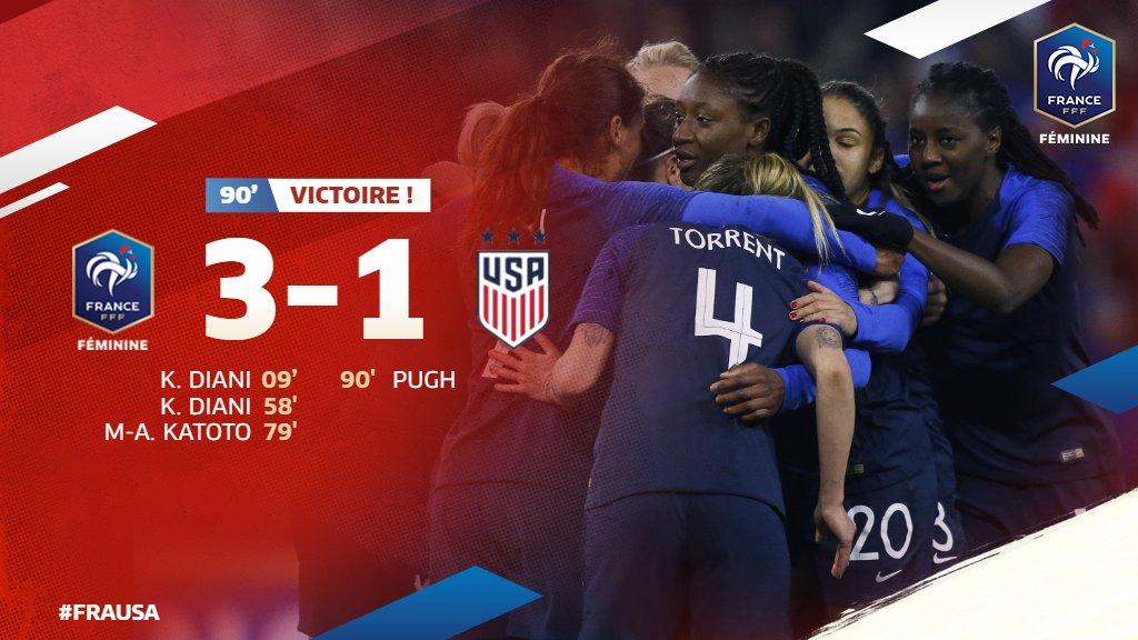 Victoire de nos Bleues face aux Championnes du Monde en titre ! 🙌 #FRAUSA 🇫🇷🇺🇸