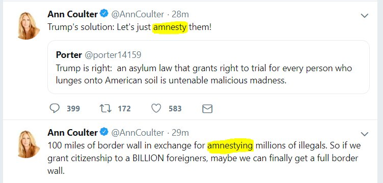 The President certainly isn't offering amnesty - but that's the first read from Ann Coulter