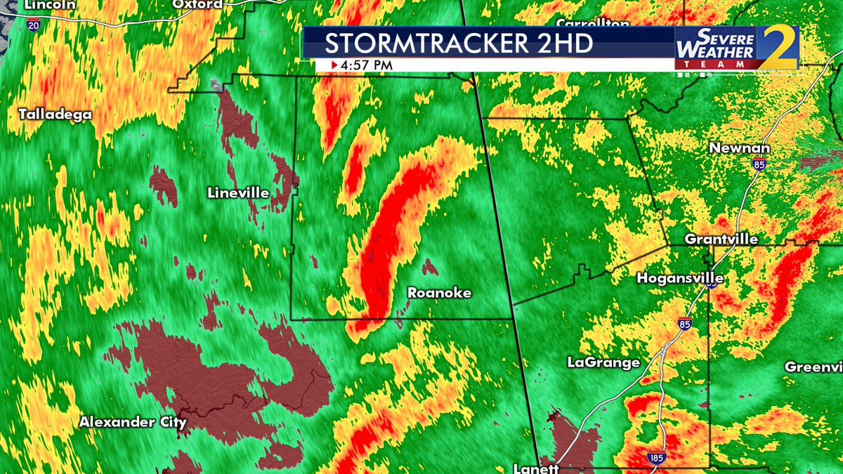 Some rotation in this storm over Randolph County, AL... watching closely with @BradNitzWSB
