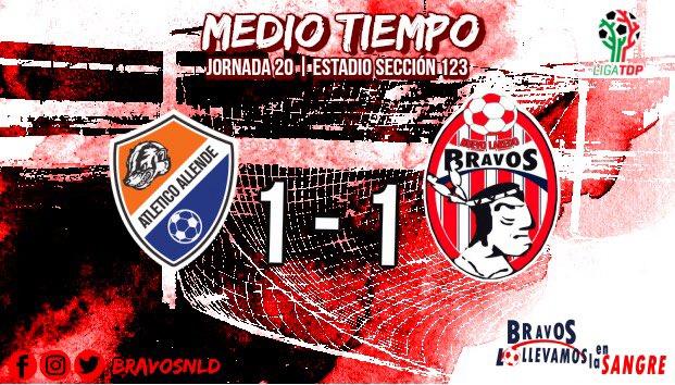 ⏱MEDIO TIEMPO | #ALLE 1-1 #BFC 34'⚽️ @BlanquiGol   Primeros 45mins, en donde nos vamos al descanso empatados. Sigue nuestra transmisión por BRAVOS FC.  #LollevamosEnLaSangre🇦🇹