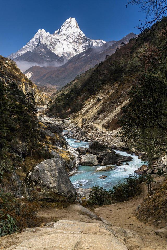 Towering, dominant and always charming Mount Ama Dablam on the way to Everest Base Camp in the Himalaya of Nepal.   #Nepal #EverestBaseCamp #EverestTrekking #Hiking #Trekking #Outdoors #TeamBuilding #Sherpa #Himalayas #SundayMotivation #NepalTrip #Namche #Lukla #Trek #VisitNepal