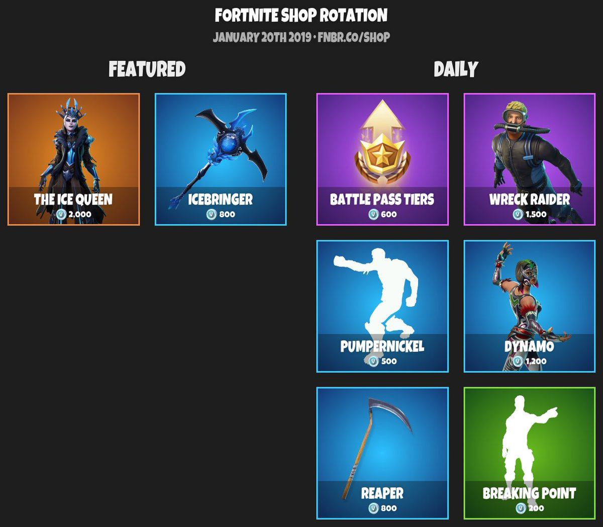 fortnite item shop for january 20th 2019 https fnbr co shop pic twitter com rusamc81he - fortnite shop 54 2019
