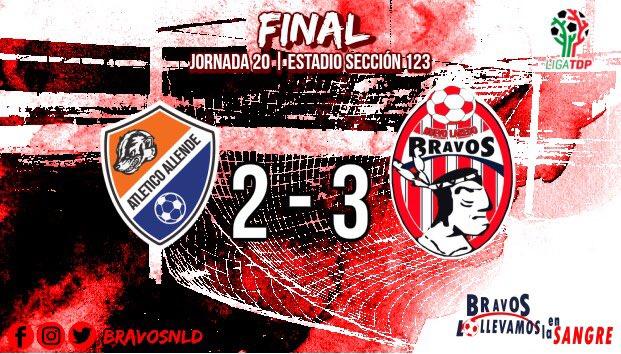 ⏱FINAL | #ALLE 2-3 #BFC 34'⚽️ @BlanquiGol  65'⚽️ 80'⚽️ Erick Villarreal  ¡Primer triunfo del 2019! La segunda vuelta, la empezamos con el pie derecho.💪🏽 ¡3pts hacia Nuevo Laredo!🏹  #LollevamosEnLaSangre🇦🇹