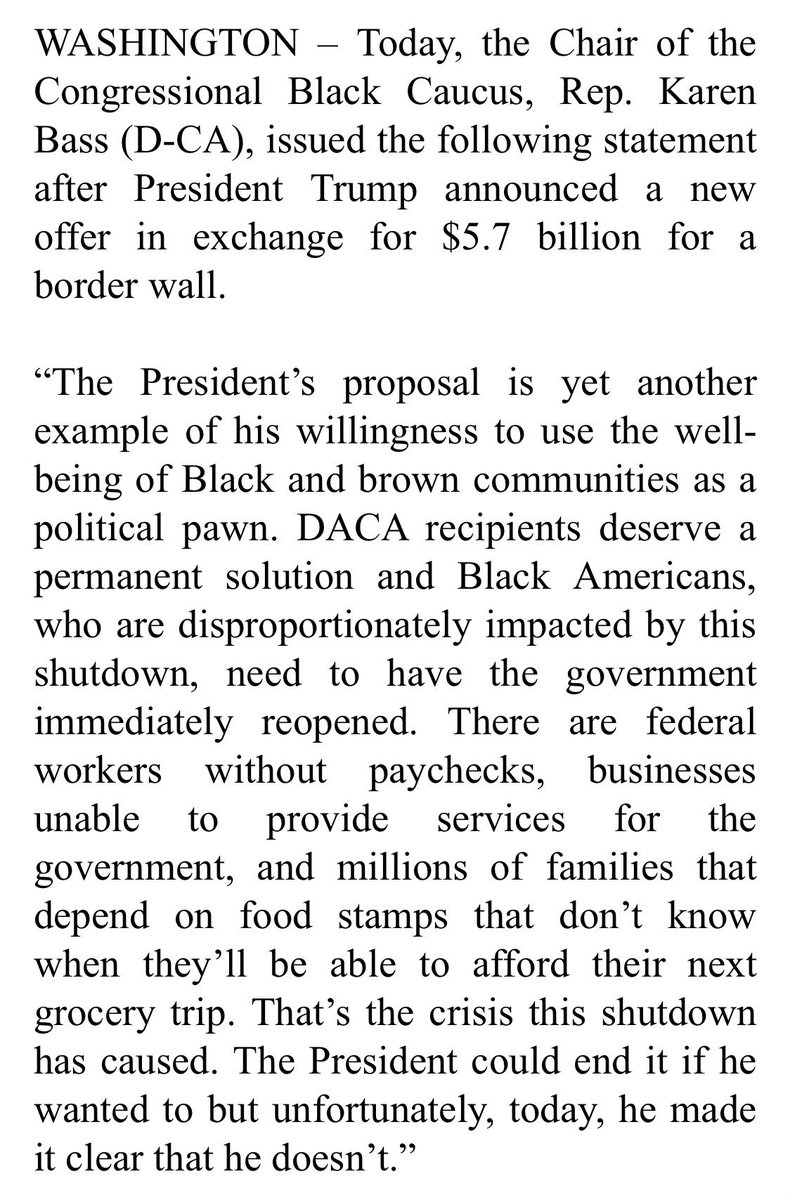 """Congressional Black Caucus Chair Karen Bass says, """"The President's proposal is yet another example of his willingness to use the well-being of Black and brown communities as a political pawn."""""""