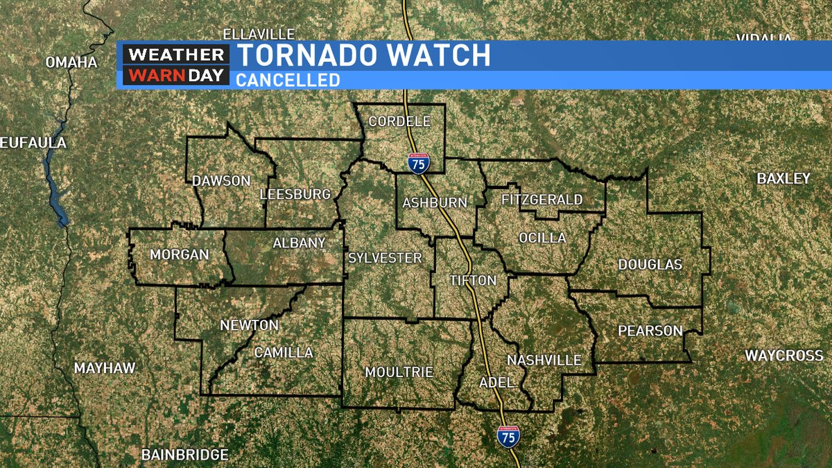 Map Of Southwest Georgia.The Tornado Watch Has Been Cancelled For All Of Southwest Georgia