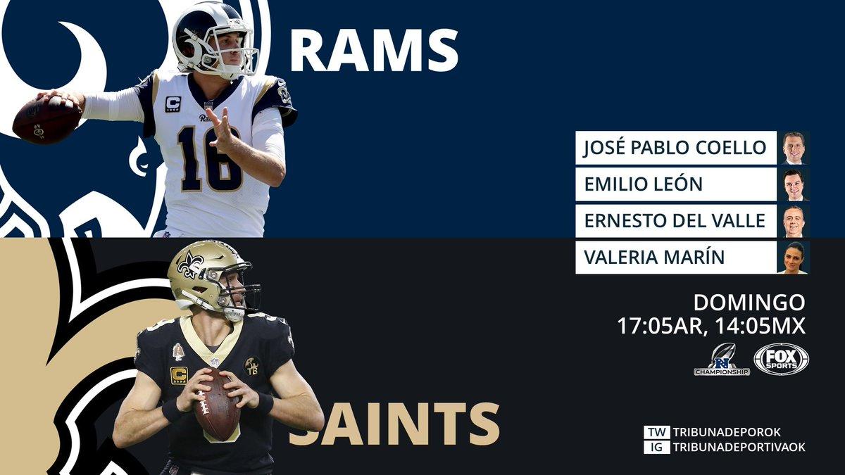 #NFL #Playoffs #NFCChampionship #RamsHouse #LARams #GoSaints #HomeInTheDome #LARvsNO  🎤 @JosePabloCoello 🎤 @eleonbaz 🎤 @ErnestoDelValle 🎤 @ValMarinR 📺 @FOXImpactoNFL #NFLxFOX