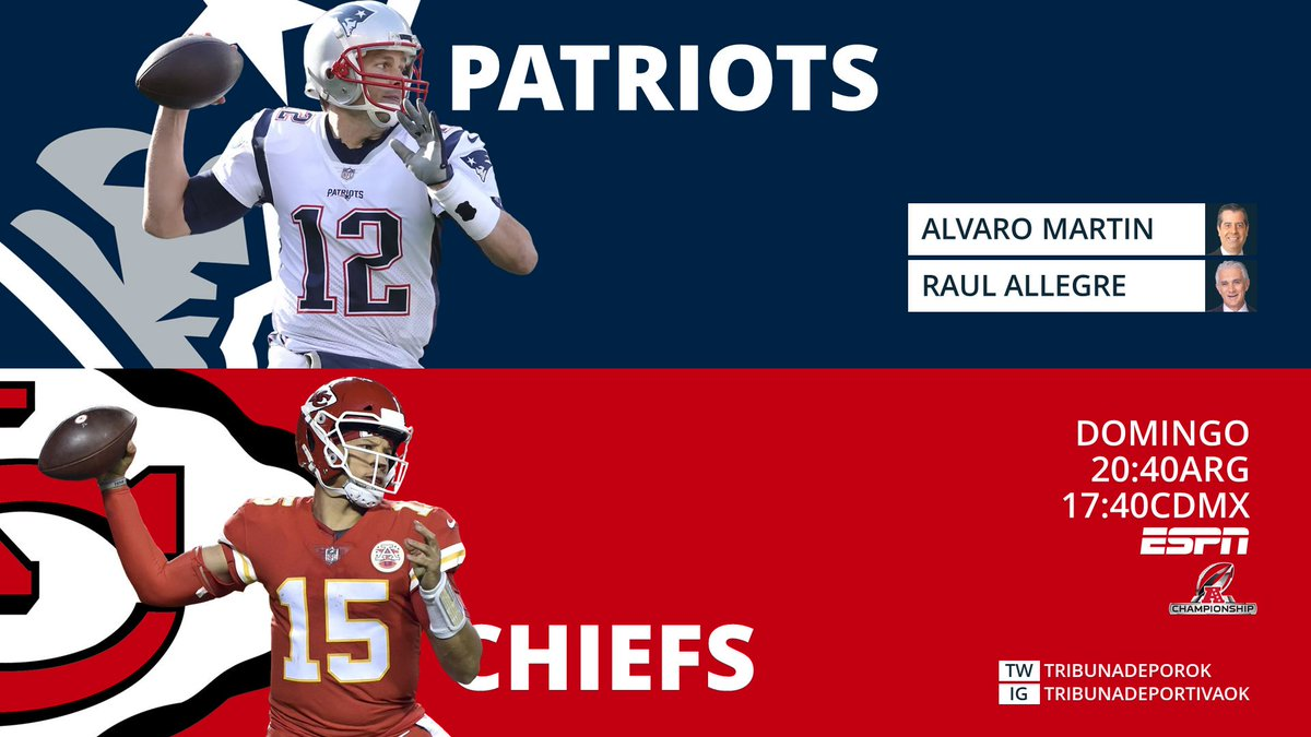 #NFL #Playoffs #AFCChampionship #GoPats #EverythingWeGot #ChiefsKingdom #LetsRoll #NEvsKC 🎤 @AlvaroNFLMartin 🎤 @RaulAllegre 📺 #NFLxESPN
