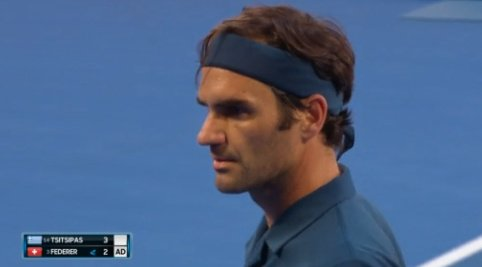 #Federer is taken to deuce for the first time in the match, but great Swiss holds to even the match.  3-3.