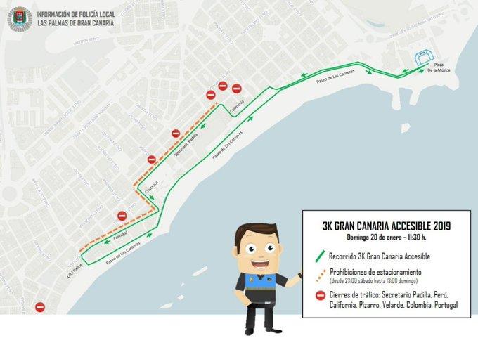 Sobre las 11:30 horas se celebra la #3KGranCanariaAccesible, que implicará cortes de tráfico en Guanarteme. Las calles afectadas son Secretario Padilla, Perú, Cálifornia, Pizarro, Verlarde, Colombia y Portugal. #GranCanariaMaratón🏃♂️ Foto