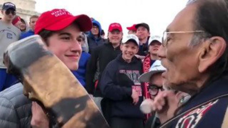 Students in 'MAGA' hats mock Native American after rally https://t.co/MZDxoodulH