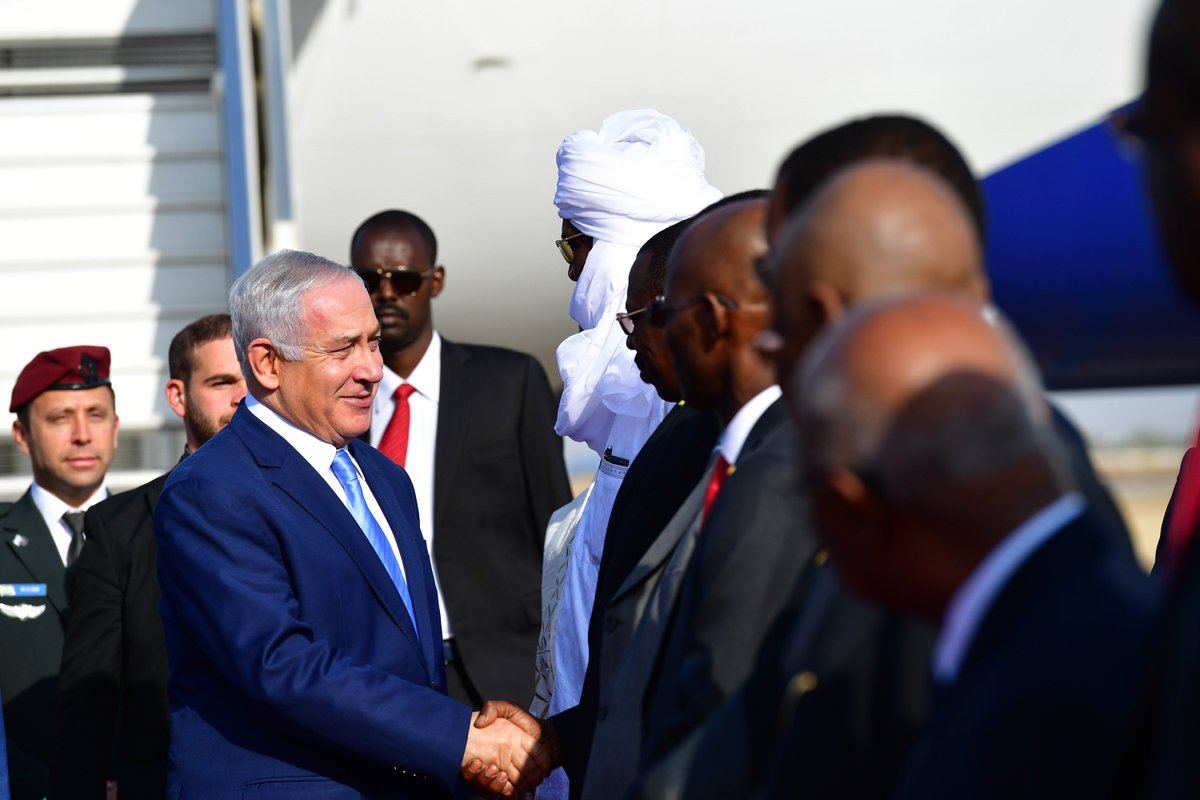 Prime Minister Benjamin Netanyahu landed in the Ndjamena, the capital of Chad. He was received by an honor guard and welcomed by Chad Foreign Minister Mahamat Zene and other dignitaries.