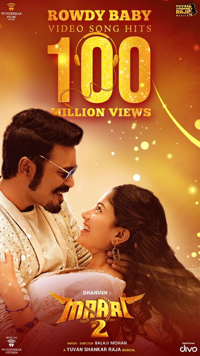 Not a fan of these views and likes but #Dhanush does it again!! After #WhyThisKolaveriDi, #RowdyBaby has smashed the youtube records.  Gone past 100M views... Credits @Sai_Pallavi92's dance, @dhanushkraja's lyrics and @thisisysr's music.  🙏👌👌 https://t.co/40AETYbsId