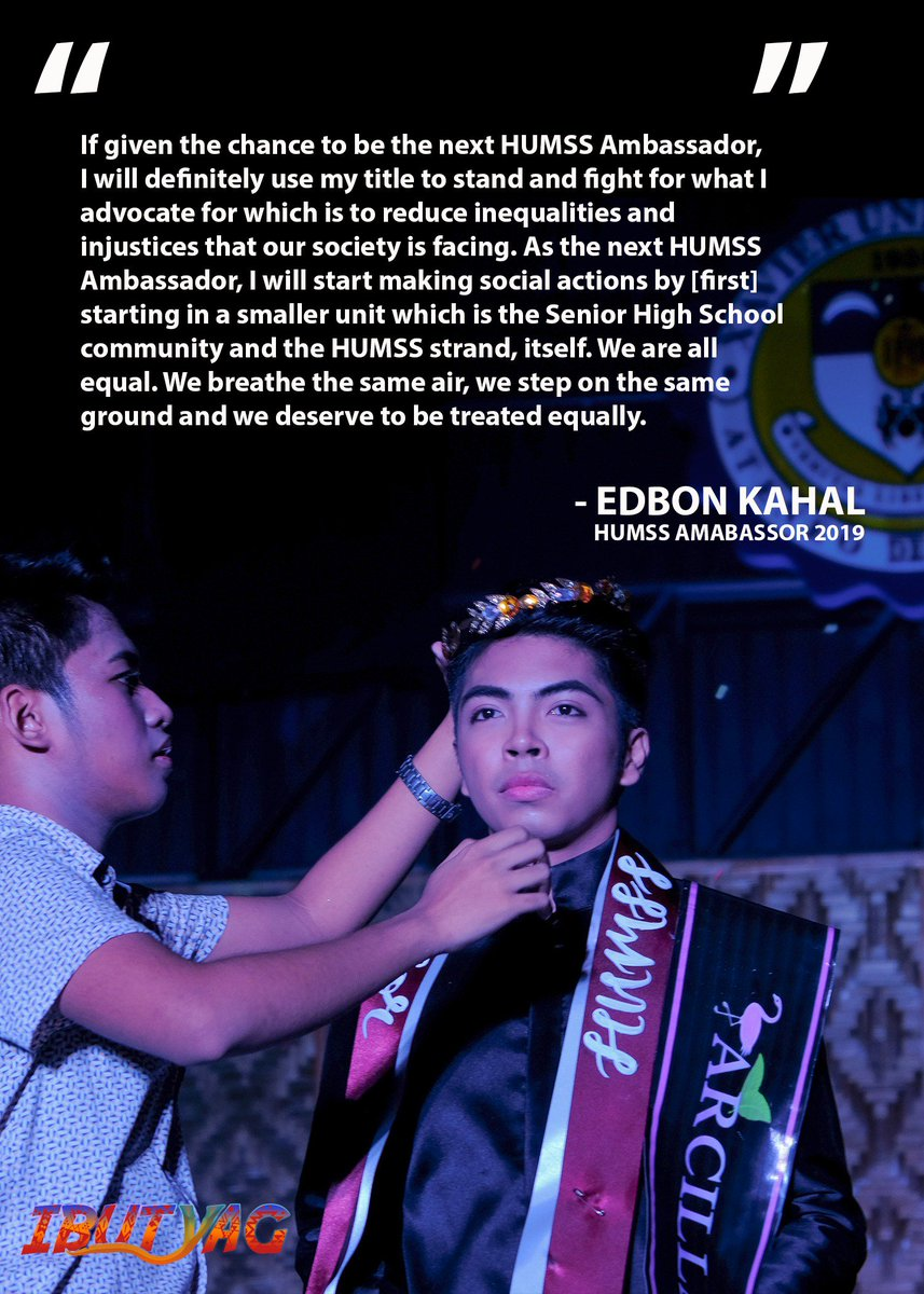 Packed with vigor and sincerity to uphold their advocacy, let us roar for the newly-crowned HUMSS Ambassador and Ambassadress!  HUMSS Ambassador 2019, Edbon Kahal and HUMSS Ambassadress 2019, Kissa Tumale!  #IbutyagHUMSS #XavierAteneo