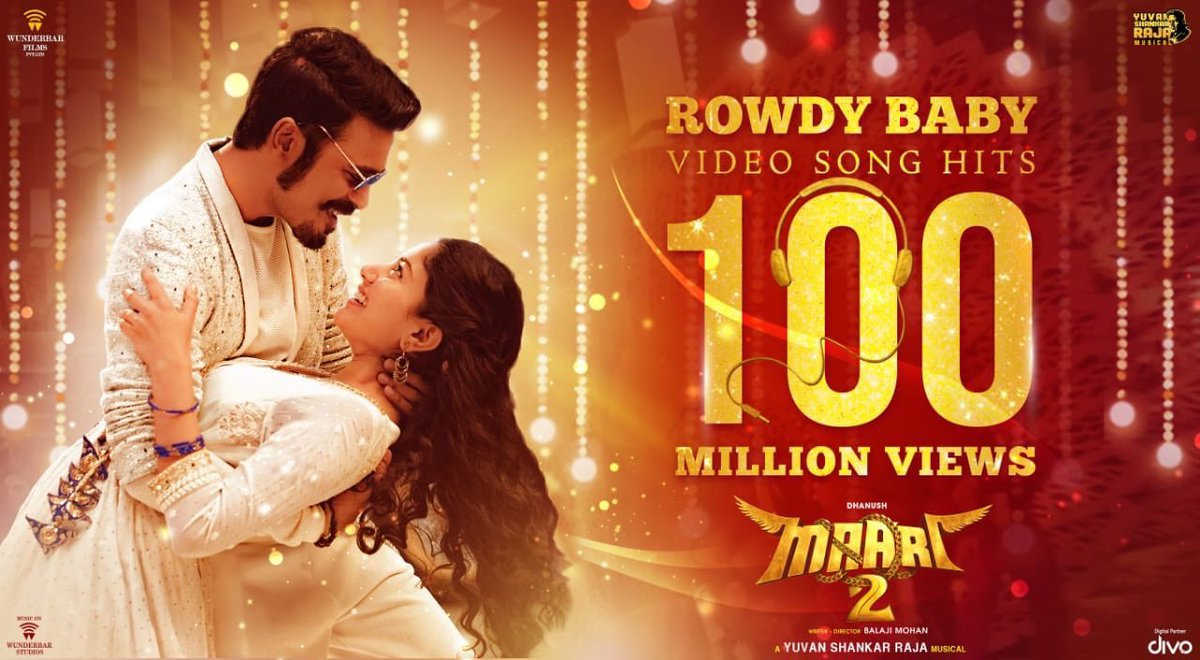 Rowdy baby hits 100 million in 2 weeks. Thank you all. Have to thank @PDdancing @thisisysr @Sai_Pallavi92 @directormbalaji and singer dhee .. you guys made this song what it is. Kolaveri Di's record in sight 😎😎