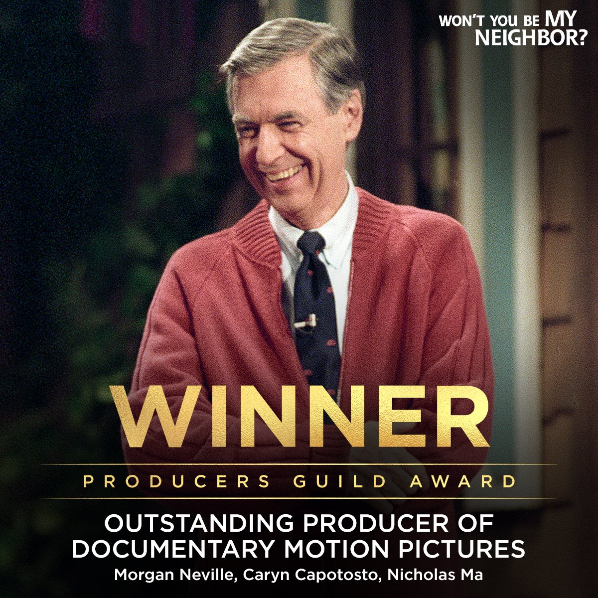 Congratulations to the #MrRogersMovie team on their @producersguild WIN for Best Documentary! 🏆 #PGAAwards