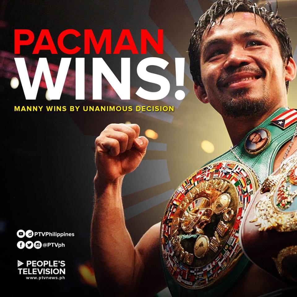 Manny 'Pacman' Pacquiao wins via unanimous decision against Adrien Broner.