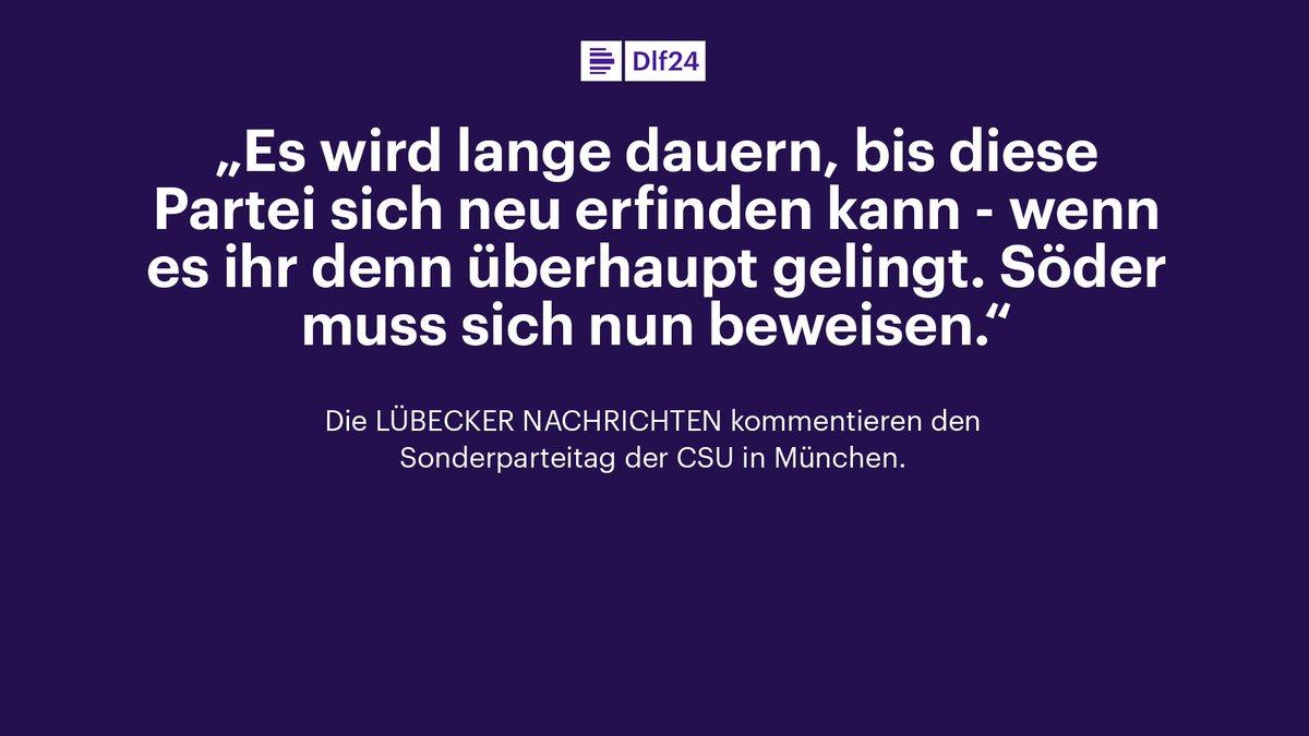 Guten Morgen, ein Thema in der Sonntagspresseschau ist der Sonderparteitag der CSU in München. https://t.co/A8Z4NakxHY
