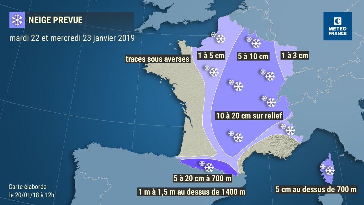 Une offensive neigeuse est attendue entre mardi et mercredi sur le pays : 5 à 10 cm en plaine sur une large moitié Est, quelques cm plus à l'ouest et sur l'Alsace. Fortes chutes de #neige et risque d'#avalanche sur les Pyrénées (> 1m au-dessus de 1400m). ▶️http://www.meteofrance.com