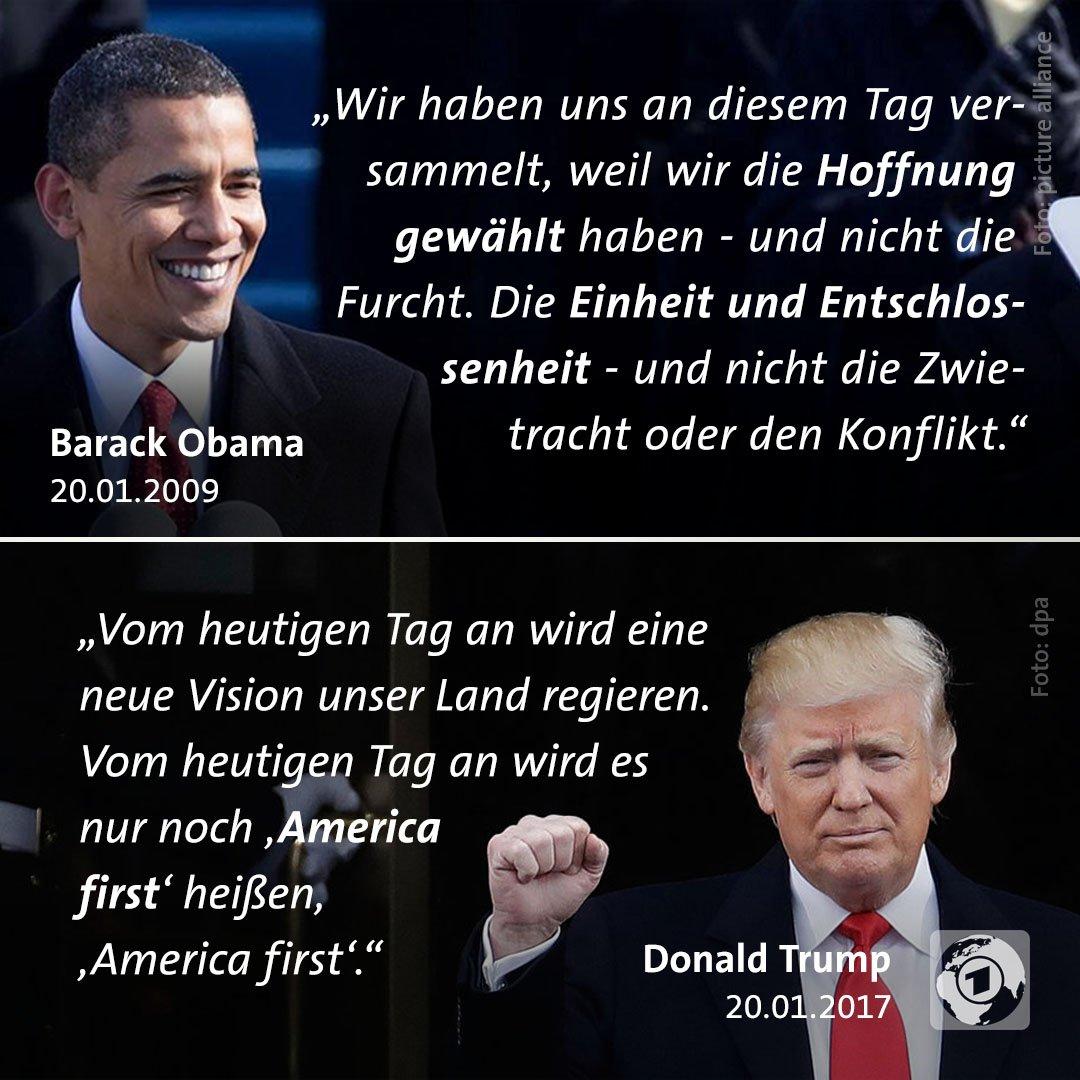 Heute vor zwei Jahren hielt Donald #Trump seine #Antrittsrede als US-Präsident, Barack #Obama vor zehn Jahren.