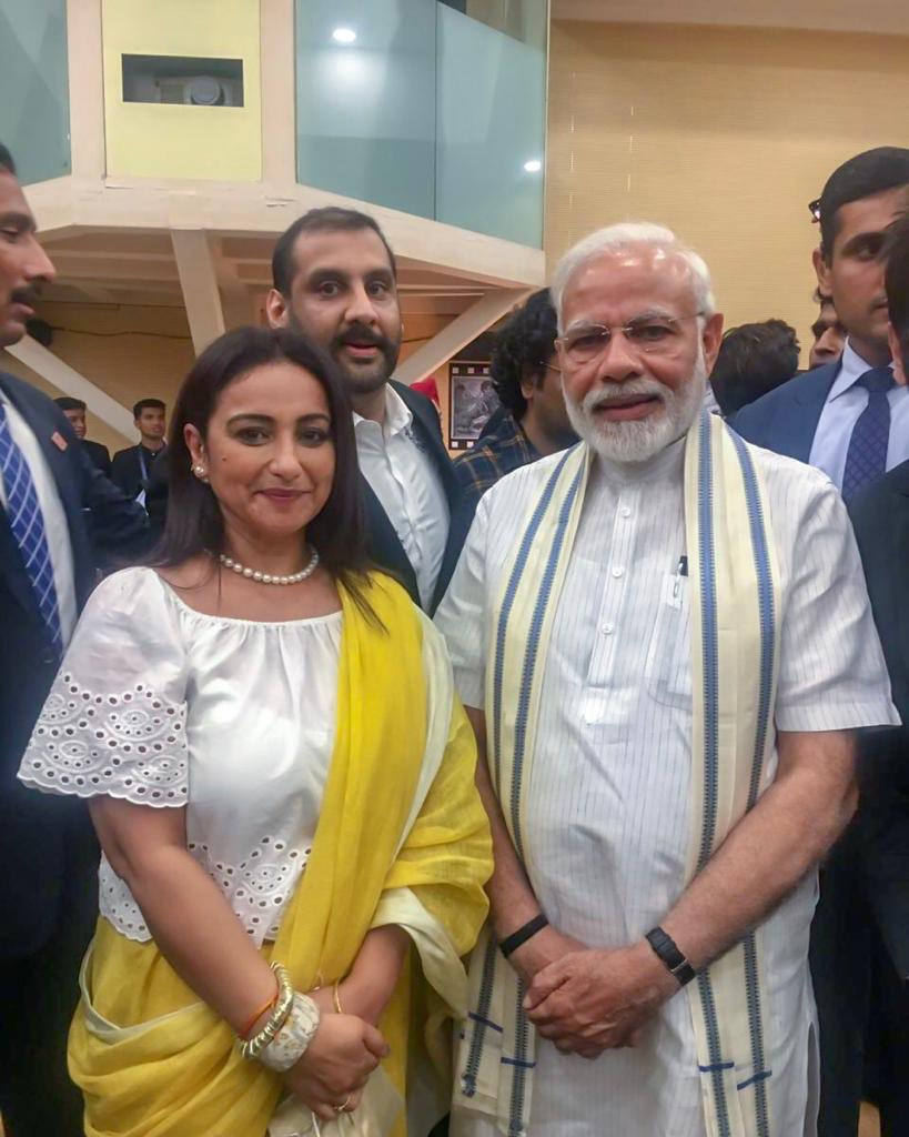 It's been an honour to be amongst the select few at the opening of the museum on Indian cinema . Have come back totally inspired listening to honorable @narendramodi ji. He spoke for the industry,put across good plans and yes brought a smile to all .सलाम प्रिय प्रधान मंत्री जी।