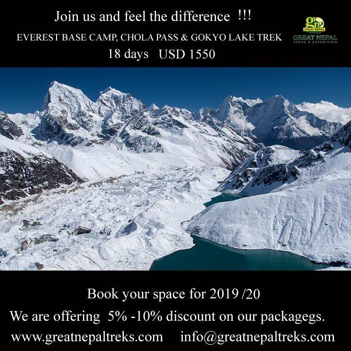 The Gokyo Valley, with its turquoise lakes.  #visitnepal #explorenepal #discovernepal #everest #Everestbasecamp #cholapass #gokyolake #trekking #adventure #climbing #northface #campvibes #khumbu #sherpa #wanderlust #mountains #destination  #gopro #asia #tibet #kathmandu