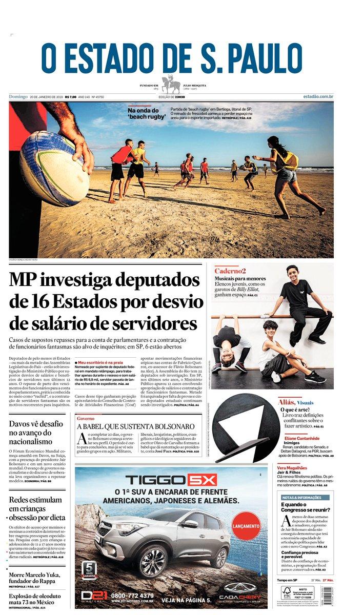 CAPA: MP investiga deputados de 16 Estados por desvio de salário de servidores. Veja mais: https://t.co/W1lYXp7WL4 #Estadão