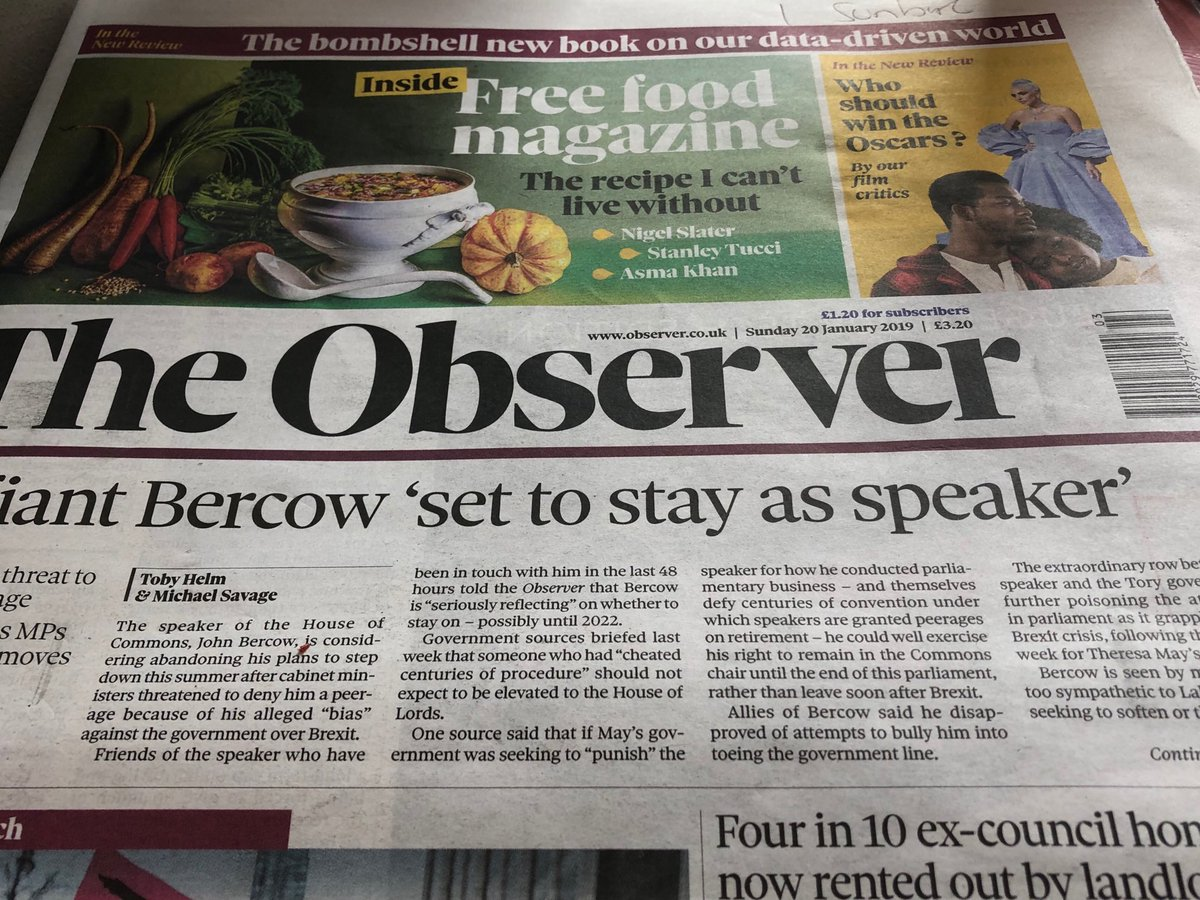 Now Observer confirms what I suggested a few days ago - that it would be counter-productive to threaten to block Bercow's peerage. He'll just stay on.