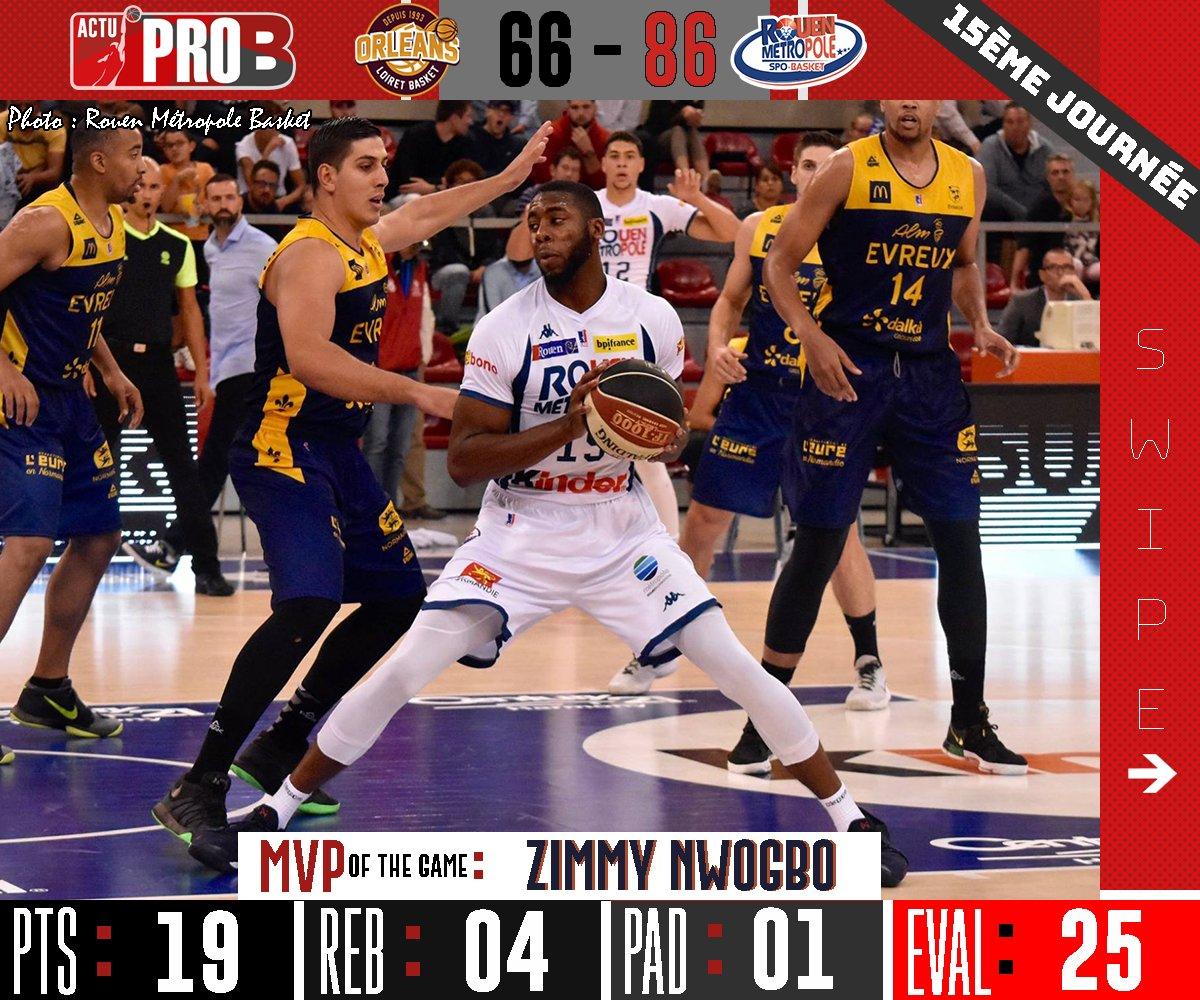 @RouenMBasket crée la sensation en s'imposant de 20 points à Orléans ! @Dat_Boi_Z_32 est élu MVP de la rencontre grâce à ses 25 d'évaluation. #LNB #ProB #J15 #RMB #Rouen