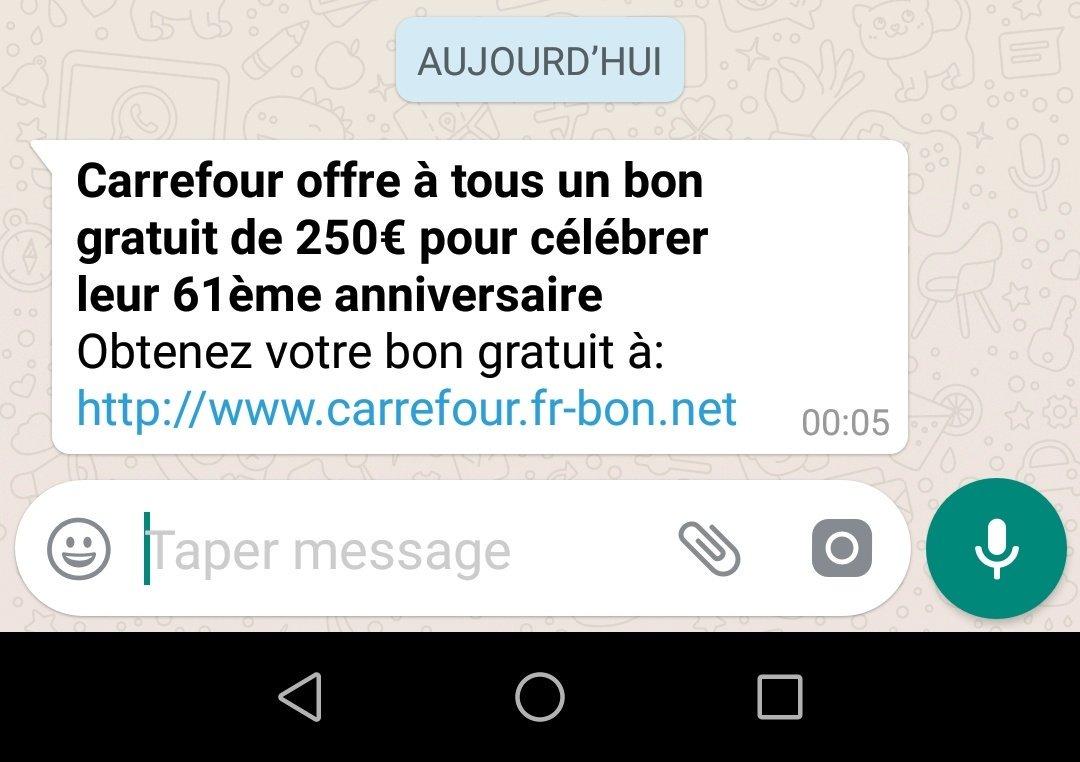 ⚠️ #ALERTE - Attention ! #arnaque en cours sur #WhatsApp et #Facebook aux couleurs de @CarrefourFrance :   ⛔️ Non ! #Carrefour n'offre pas un bon d'achat de 250€ pour son 61e anniversaire !  - Ne cliquez pas sur le lien - Ne relayez pas à vos contacts - Ne donnez aucune info