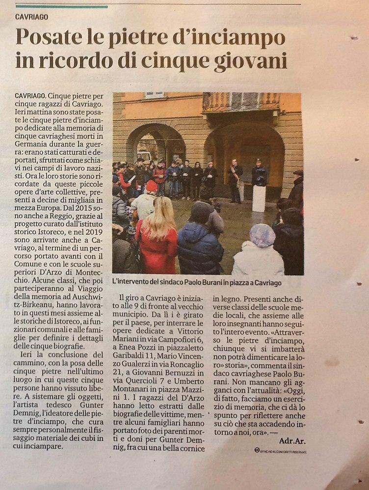 RT @Istoreco: Oggi su Gazzetta di Reggio la posa delle pietre a Cavriago #stolpersteine https://t.co/7MZ2NKfhhB