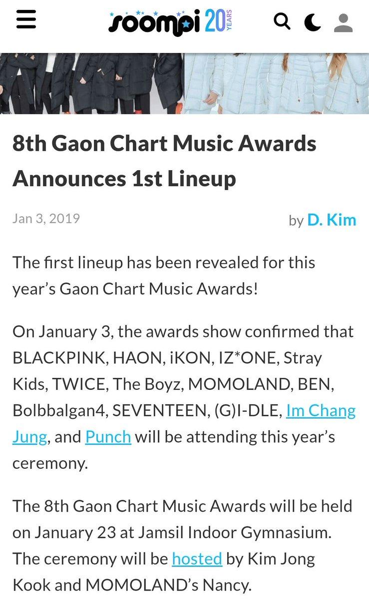 Gaon Chart Music Awards 2019 Lineup