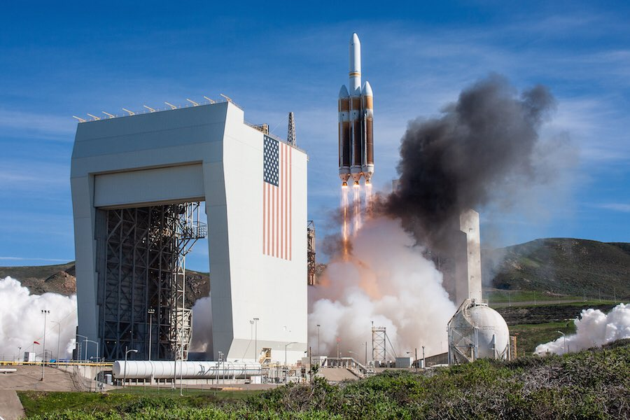 A surveillance payload owned by the National Reconnaissance Office soared into space Saturday from California on top of a United Launch Alliance Delta 4-Heavy rocket, entering an unusual orbit not previously used by the US government's spy satellite fleet. https://t.co/cPhoKgsefJ