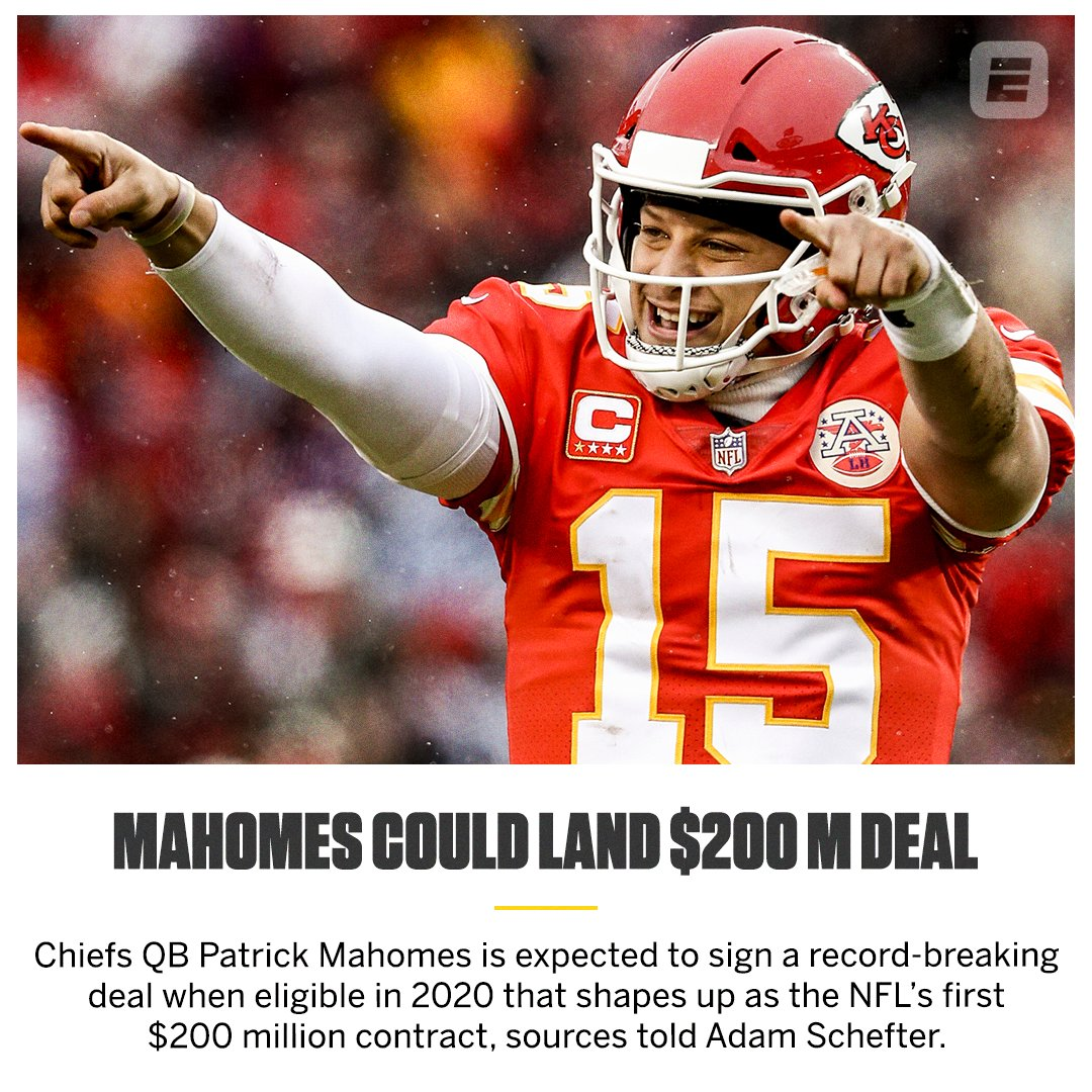 Patrick Mahomes could be getting paid in 2020  �� (via @AdamSchefter) https://t.co/GDyBcHFotm
