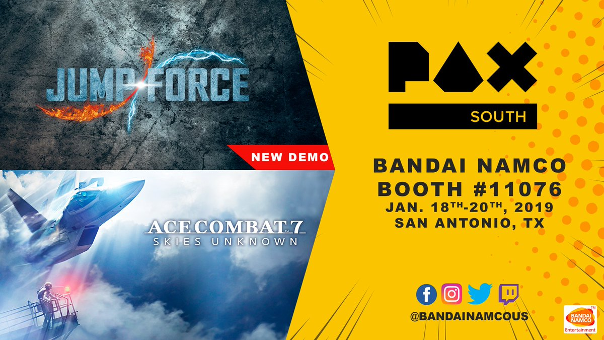 Last day of #PAXSouth means last day for swag and last chance to play our awesome demos for #ACECOMBAT7 and #JUMPFORCE! Come to Booth 11076 before it's too late...