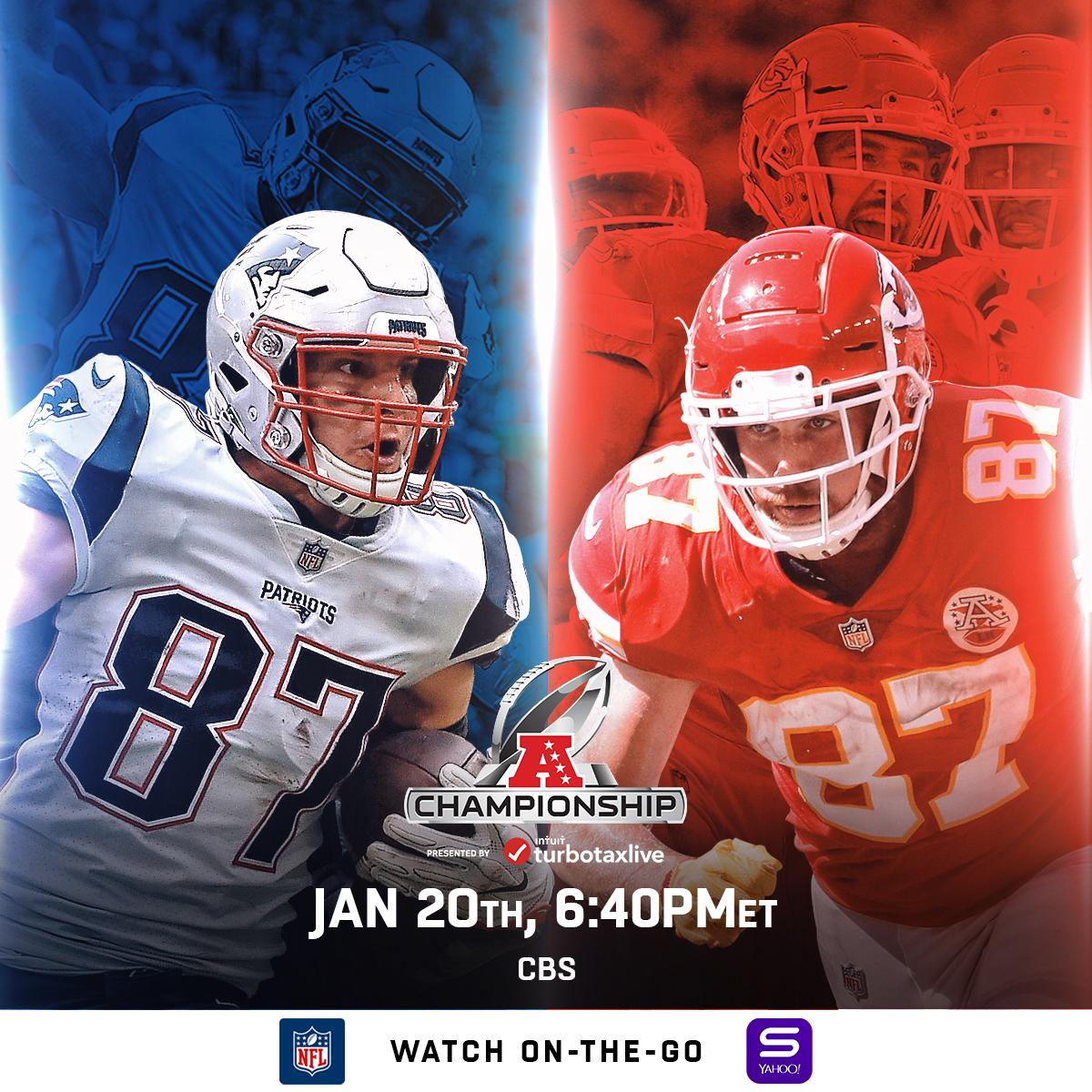 The AFC team in the @SuperBowl will be...   📺: @Patriots. @Chiefs. TODAY on CBS (6:40pm ET) #NFLPlayoffs