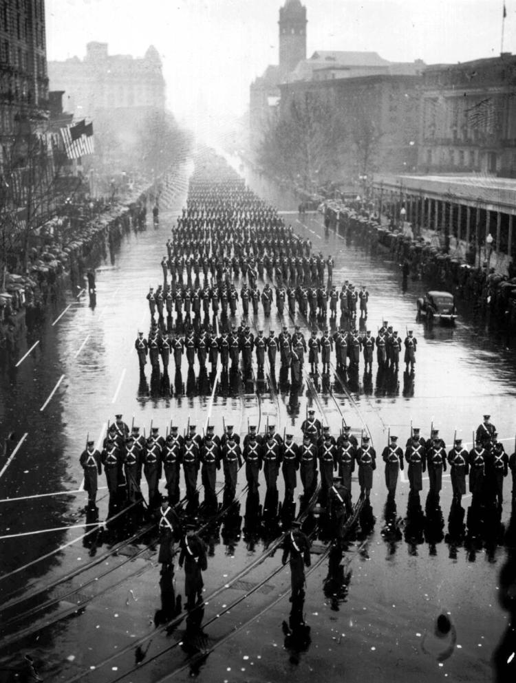 Inaugural parade of U.S. President Franklin D. Roosevelt in Washington, DC on this date January 20 in 1937. Photo credit: AP.