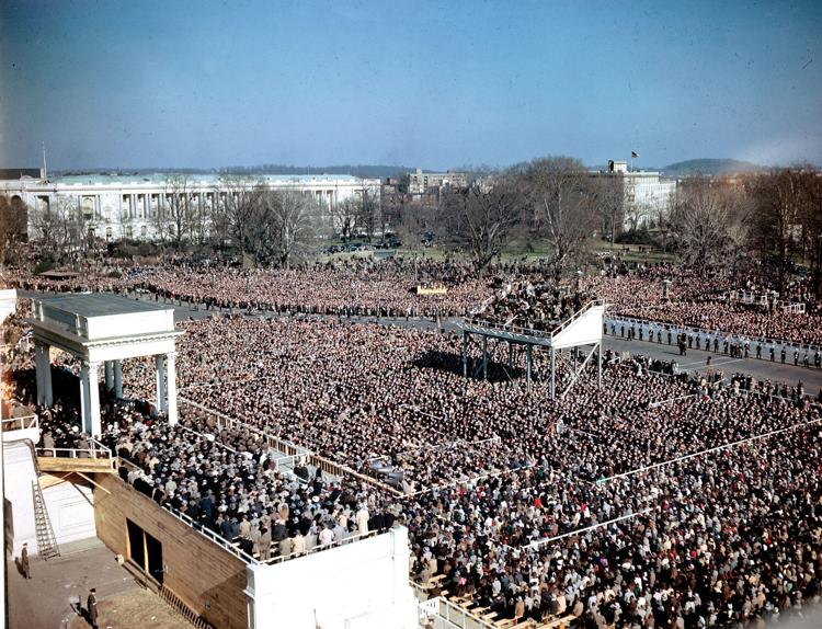 Inauguration of U.S. President Harry S. Truman on this date January 20 in 1949. Photo by AP.