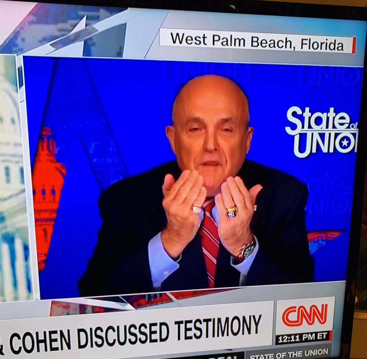 When Rudy finishes another Sunday morning session of digging a deeper hole for Trump, what do his Palm Beach brunch pals tell him? 'The rings looked dazzling!'