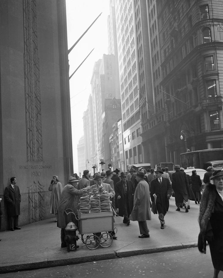 Wall Street and Broadway in New York City on this date January 20 in 1952. Photo by Bob Kradin.