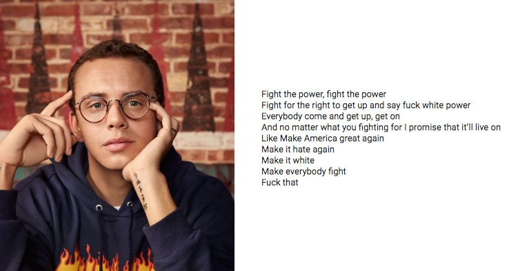 """I talked with a person who knows the """"main student"""" in the #CovingtonCatholic video.  Turns out, the #magateen's favorite musician was the biracial rapper Logic.  Here are some of his lyrics. I think this is a good way to end this thread and give this community space to reflect."""