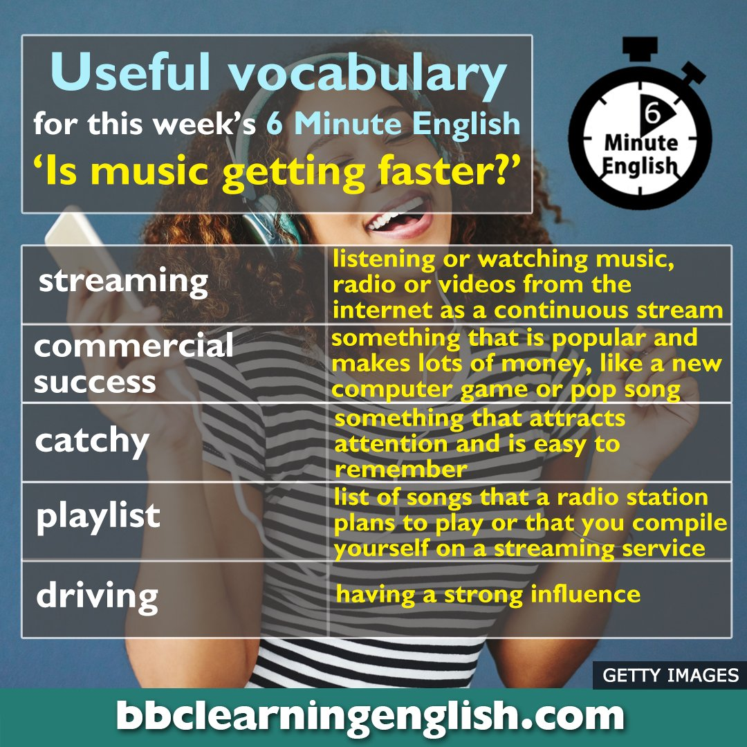 🎵🎵How do you like your music – fast or slow? 🎺 Research has discovered that the music we listen to might be getting faster! 🎧Learn some new vocabulary here to help you understand our discussion about this subject  https://t.co/TjXY88cUcu #learnenglish #vocabulary