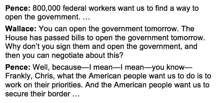 When asked on @FoxNewsSunday why Trump and McConnell refuse to reopen the government, Pence stammers.