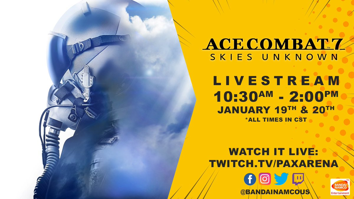 In one hour, we're going to have a showdown in the skies! Catch the #ACECOMBAT7 livestream happening at the #PAXSouth @Twitch Arena.   Tune in today, Jan 20th, from 10:30AM-2:00PM CST @ https://t.co/ADL6wO6jdP