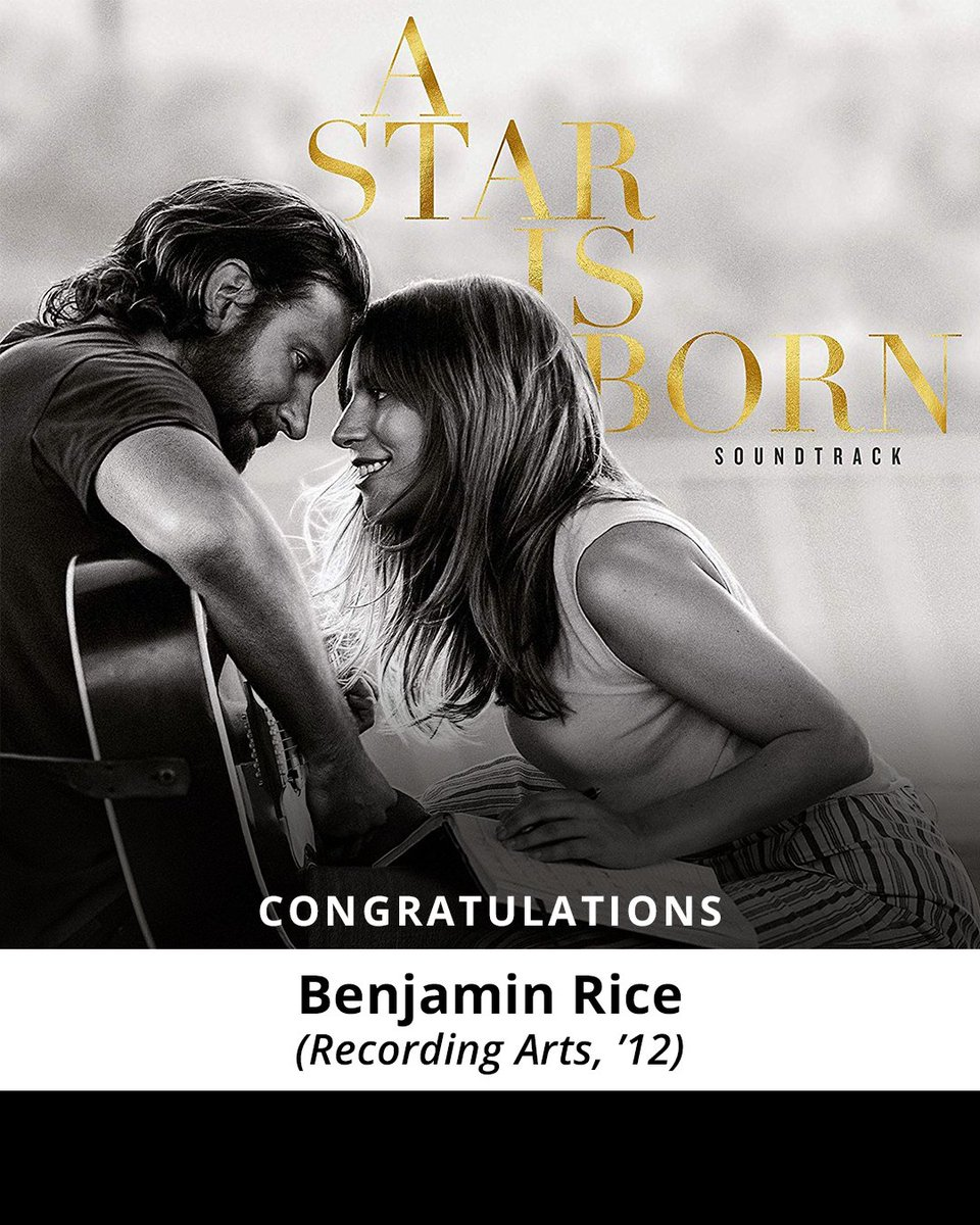 Join us in congratulating #FullSailGrad  Benjamin Rice, Producer on Shallow from @starisbornmovie ! The @ladygaga /Bradley Cooper duet is nominated for multiple #GRAMMYs . 🧡