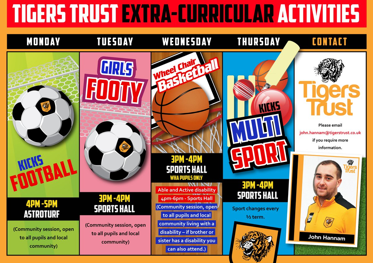 There's been a change of time to one of the @tigerstrust community sessions, on Thursday, the Multi Sports session will now be 3pm-4pm and not 4pm-5pm like last term  ⬇️ https://www.winifredholtbyacademy.co.uk/tigers-trust/    💙💛#TeamWHA