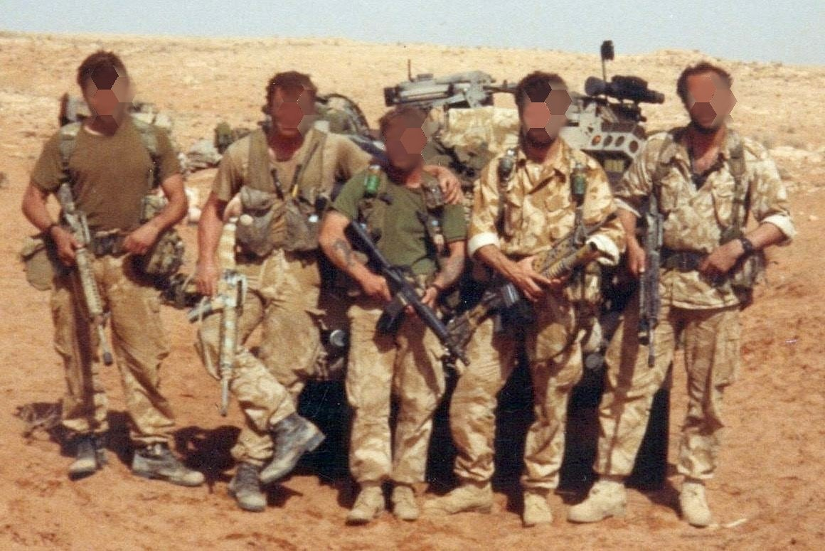 """28 Yrs ago this night we crossed into Iraq. We would spend 42 days behind the lines.   Every man in this pic ex 3 Para.   All decorated from various campaigns some twice.   Proud to have fought alongside them  """"History does not entrust freedom to the weak or timid""""  #whodareswins"""