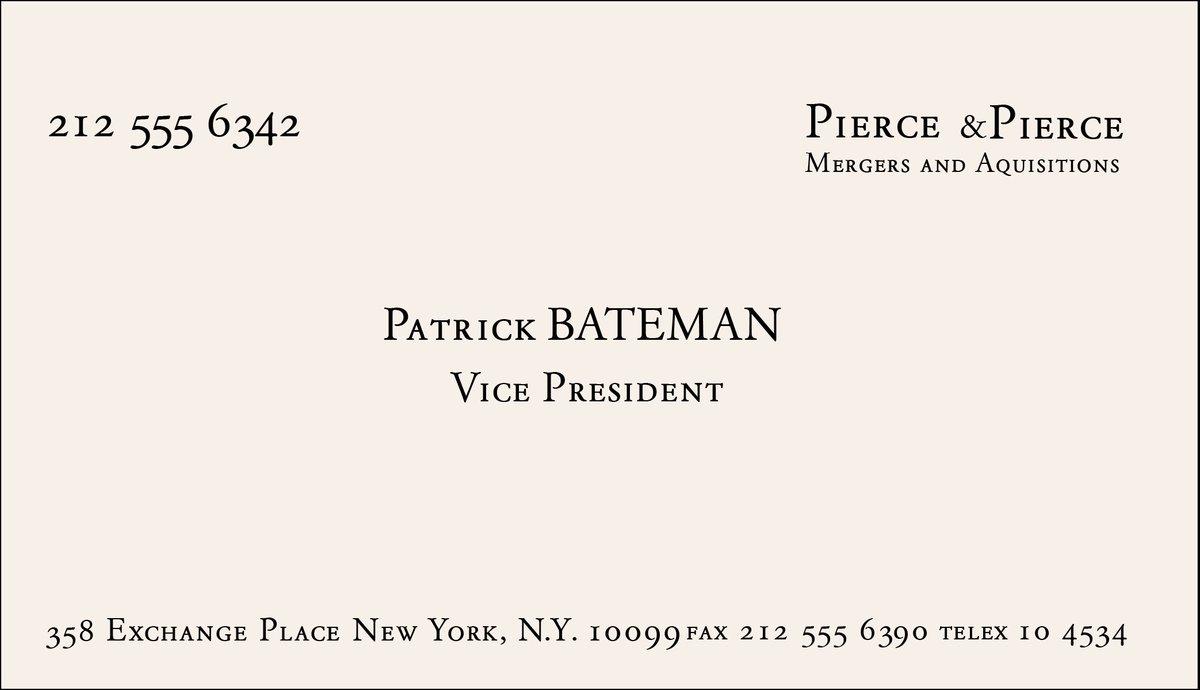 La Carte De Visite Patrick Bateman Dans American Psycho Dont Je Me Sers
