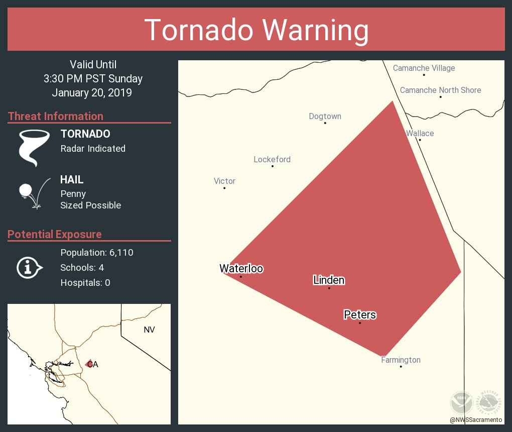 Linden California Map.Nws Tornado On Twitter Tornado Warning Including Linden Ca Peters