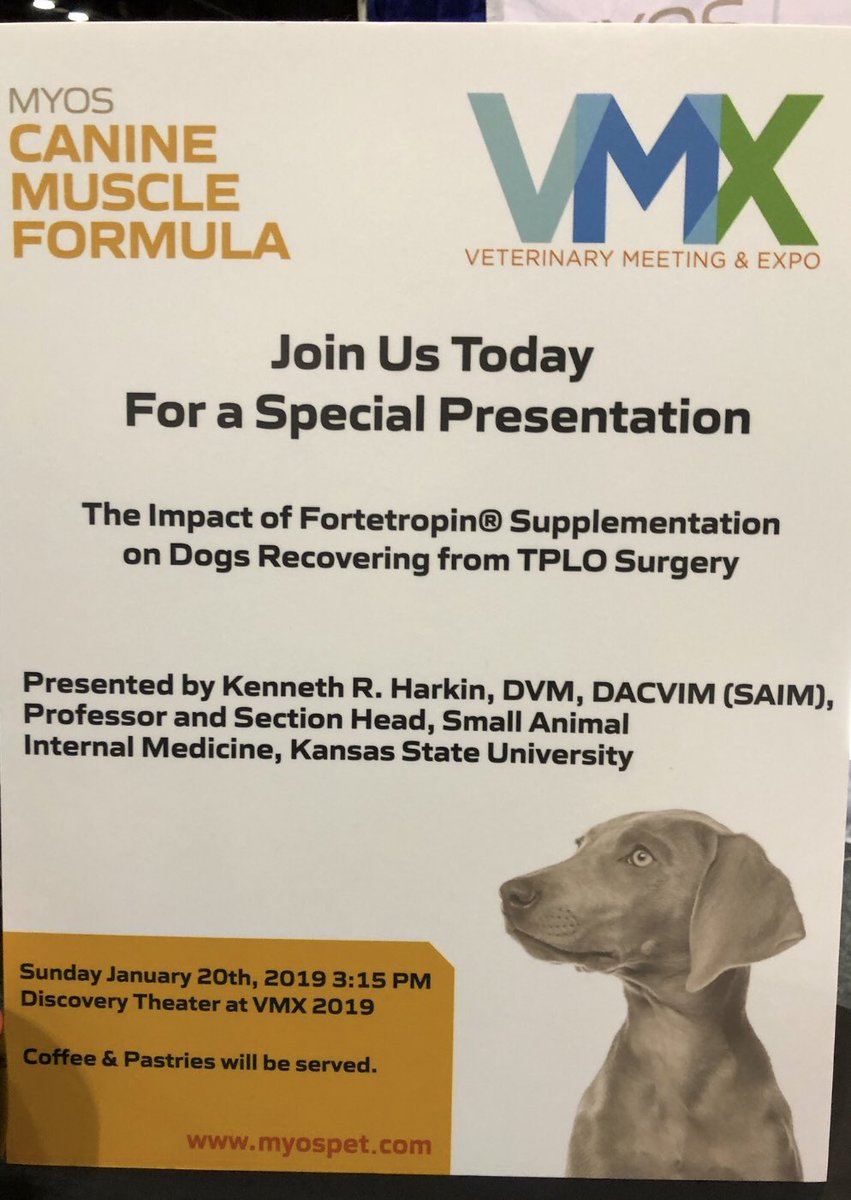 It's simple. BUILD MUSCLE!  Data presented today.  @MyosPetProducts  #VMX2019 #veterinary #muscle @HaririRobert