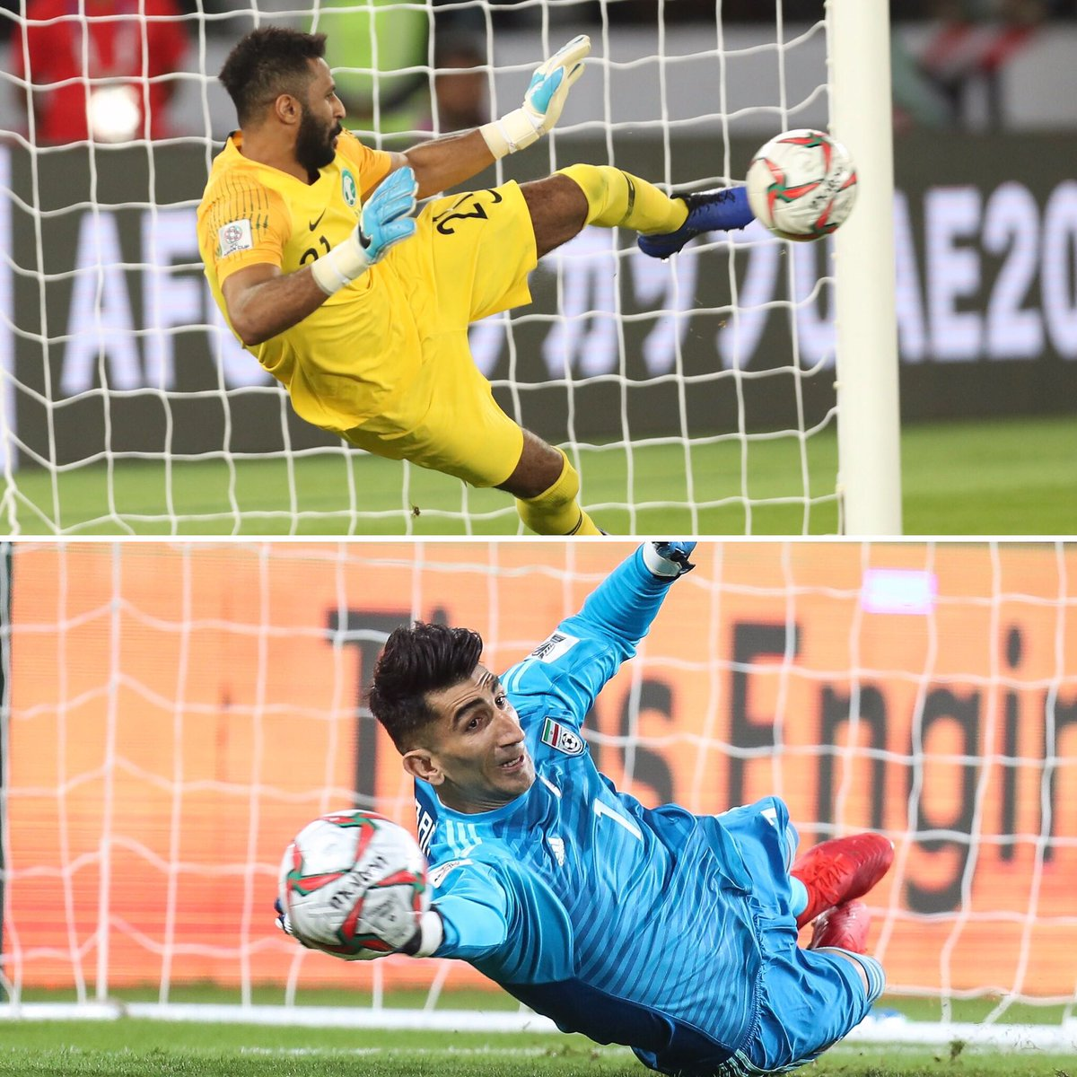 🇸🇦 @SaudiNT's @mohadalowais 🇮🇷 @TeamMelliIran's Alireza Beiranvand  Two great keepers! Two great penalty saves! Which one did you like more? 🤔 #AsianCup2019 https://t.co/b0P3cMsuih